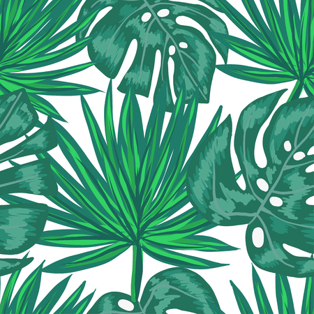 Seamless pattern with tropical palm and monstera leaves on white background.