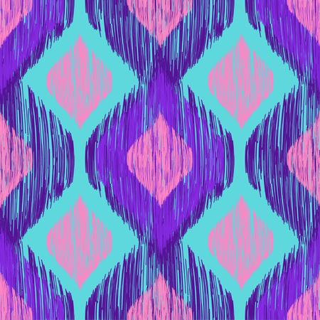 Bright neon colors seamless trenfy pattern. Ethnic tribal colorful smudged ikat print. Vector seamless background