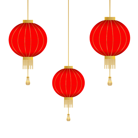 Traditional Chinese lantern in a flat style. Vector background with red lanterns isolated on a white background. Illustration