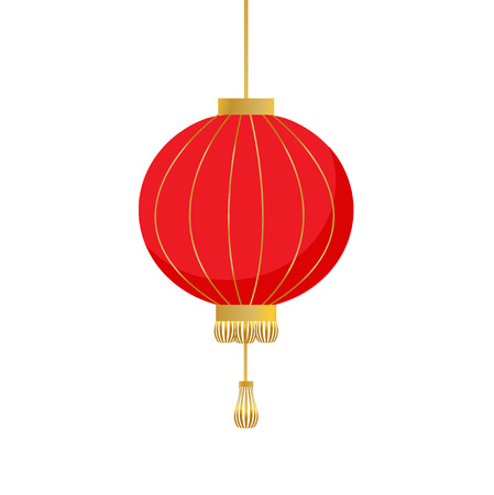 Traditional Chinese lantern in a flat style. Vector icon symbol with red lantern isolated on a white background. Vettoriali