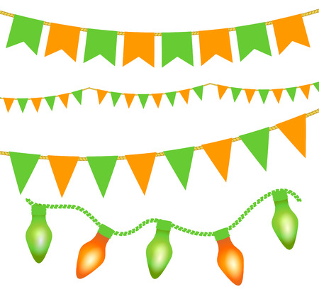 Green and orange festive bunting, lights and flag garlands on white background. Illustration