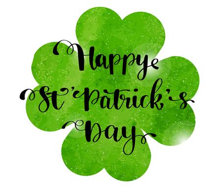 Tarjeta de felicitación del día de San Patricio, cartel, pancarta. Ilustración vectorial Trébol de acuarela verde y texto de letras de mano feliz día de San Patricio.