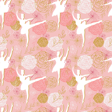 Ballet dancer. Vector seamless pattern with ballerinas and rose flowers in pink, white and gold colors.