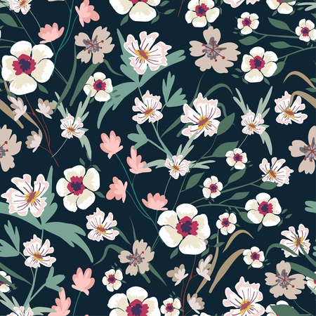 Seamless pattern with small flowers on a dark background. Modern fashionable floral texture for fabric, wallpaper, interior, tiles, print, textiles, packaging and various types of design. Trendy floral background. Vector illustration.