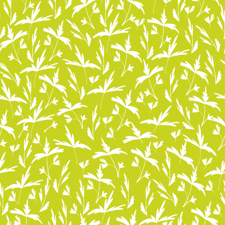 Trendy Seamless Floral Print. Small white leaves on green background. Can be used for textile, fabric, wallpaper, scrapbooking design. Vector