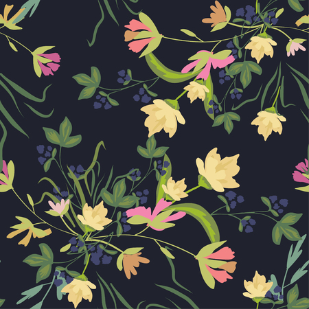 Seamless pattern with small flowers on a dark background. Modern fashionable floral texture for fabric, wallpaper, interior, tiles, print, textiles, packaging and various types of design. Trendy floral background. Vector illustration. 向量圖像