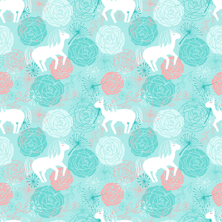 Vector seamless background with small cute white horses. Endless pattern with pony and rose flowers. Backdrop with blue and pink little horses with abstract plants. Children s pattern.