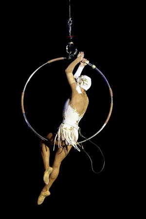 Girl gymnast in the circus. Aerial ring. Russian Circus. A gymnast under the dome of a circus.