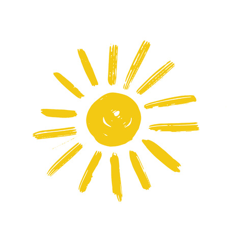 Hand drawn vector illustration of yellow sun icon isolated on white. Sun logo design. Summer sun logotype or symbol for print or web