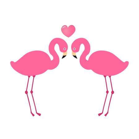 Two pink flamingos in love. Flamingo bird couple and heart isolated on white background. Greeting card, clothing print, wedding invitation design Illustration