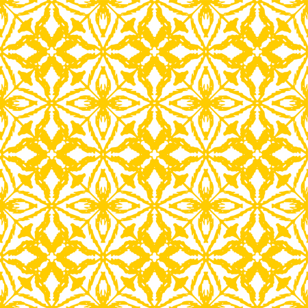 Seamless ikat pattern in yellow and white colors. Vector tribal background. Ethnic print for wallpaper, textile, clothing, web, scrapbooking design