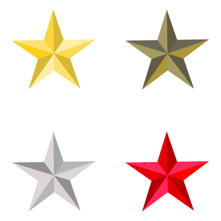 Set of golden, silver, bronze and red stars. Vector illustration Ilustrace