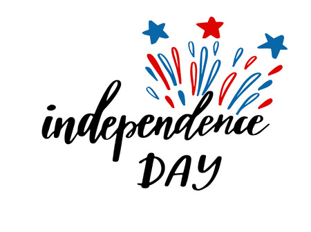 4th of July independence day card, poster or banner design. Fireworks and lettering text in national american colors,