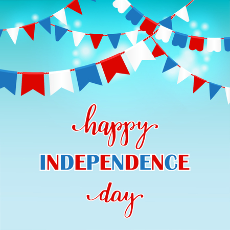4th of July independence day card, poster or banner design. USA flag in a shape of heart and lettering text in national american colors, Illustration