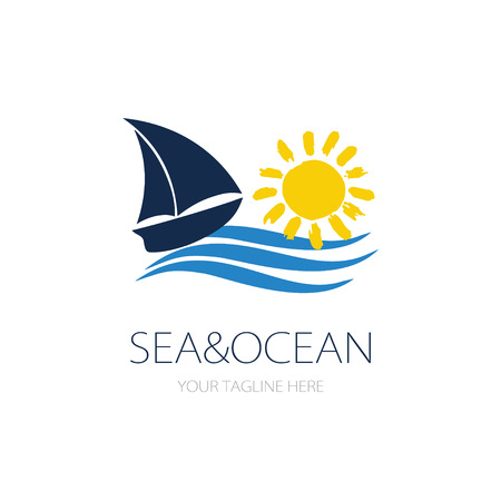 Small blue ship, yellow sun and sea wave logotype. Vector sailboat logo for yacht club, excursions agency or marina
