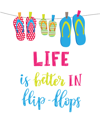Life is better in flip-flops. Letetring text and three pair of beach shoes isolated on white. Summer vacation concept typography poster. Vector illustration design Иллюстрация