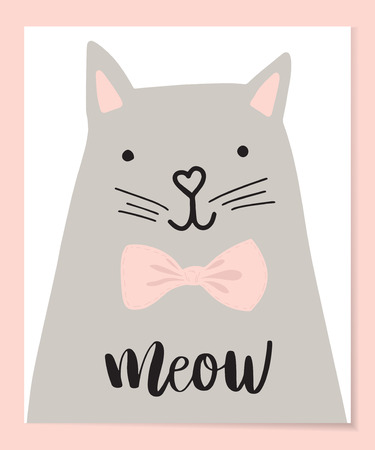 Cute Cat vector illustration. T-shirt Print design. Animal drawing,Children illustration for School books, notepad and more. Romantic hand drawing cat character