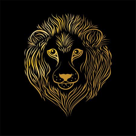 Gold lion head on black background Illustration