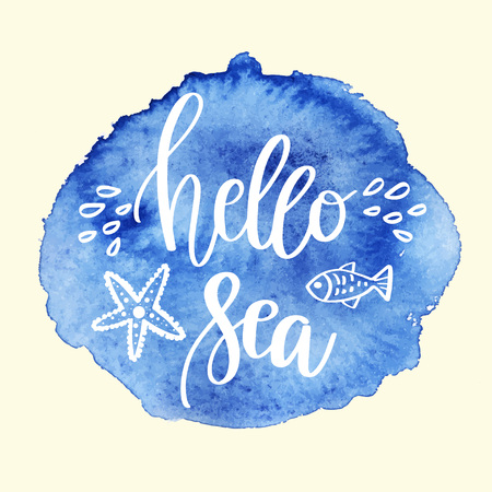 Hand drawn lettering quote - Hello Sea. Summer vacations motivational poster with text, water splashes and fishes. Can use for print greeting cards, handbags, totes, posters and tshirts