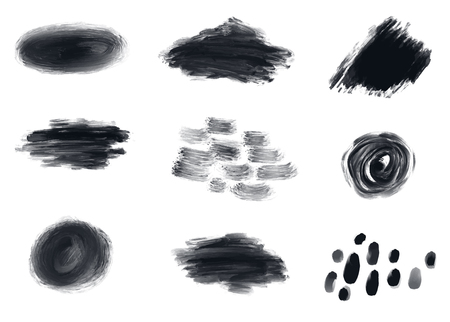 Different black spots vector set. Grunge circle and dots banners Illustration