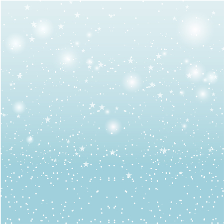 Stars and snowfall in light blue day sky. Vector background illustration