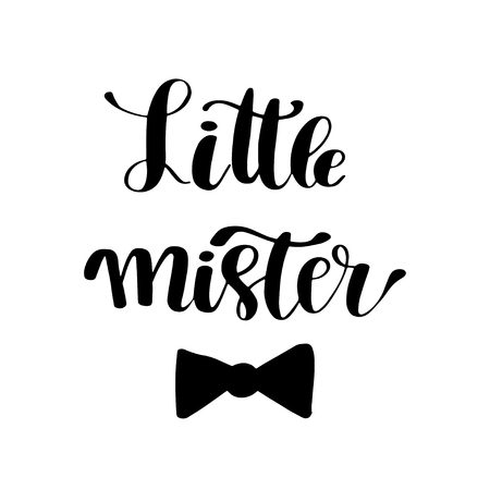 Hand drawn lettering quote Little Mister. Modern calligraphy phrase for boy card, print, decor, clothing and poster. Baby shower invitation or t-shirt design. Ilustração
