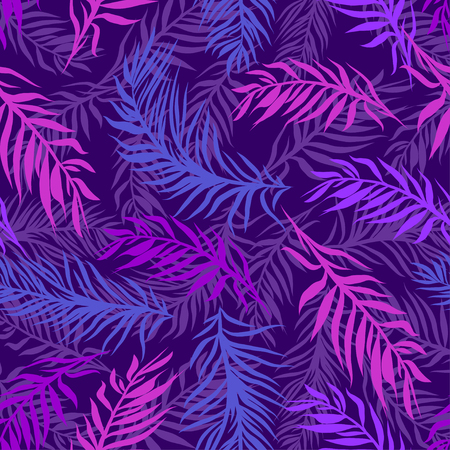 Seamless tropical palms leaves pattern. Beautiful exotic abstract design in vibrant, neon colors on dark background, can be used for clothing, textile, fashion, interior, stationery, web. Ilustrace