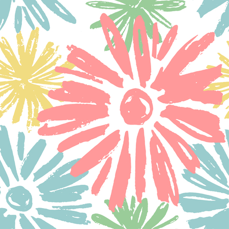 Abstract seamless pattern with pastel blue, yellow and pink colors flowers in grunge style on white background. Vector repeating chrysanthemum blossoms vector illustration.