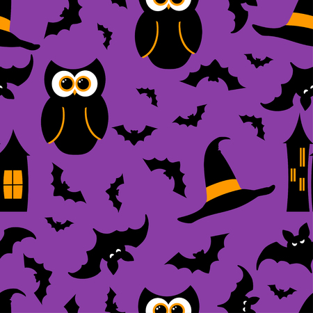 Seamless pattern halloween elements and symbols on black background. Can be used for scrapbook digital paper, textile print, page fill, greeting cards, posters, tags. Vector illustration