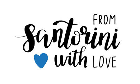Santorini - hand drawn lettering phrase. Sticker with lettering in paper cut style. Vector illustration.