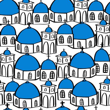 Santorini greece island seamless pattern, Vector illustration Stock Photo