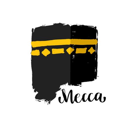 Vector brush painted Islamic symbol kaaba in Mecca. Icon for Hajj and Ramadan or Eid. Lettering text Mecca