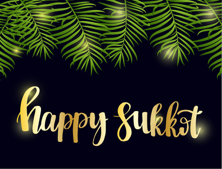 Happy Sukkot hand drawn lettering text with frame of green palm leaves on black night background. Jewish traditional holiday. Template for greeting card, postcard, invitation card. Vector illustration