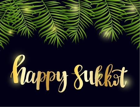 Szczęśliwy Sukkot ręcznie rysowane napis tekst z ramą zielonych liści palmowych na tle czarnej nocy. Tradycyjne żydowskie święto. Szablon karty z pozdrowieniami, pocztówka, karta z zaproszeniem. Ilustracja wektorowa Ilustracje wektorowe