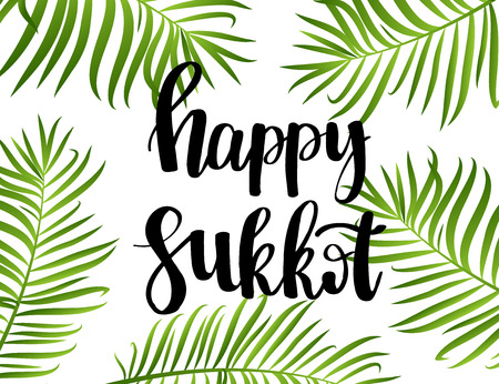 Happy Sukkot hand drawn lettering text with frame of green palm leaves on white background. Jewish traditional holiday. Template for greeting card, postcard, invitation card. Vector illustration.