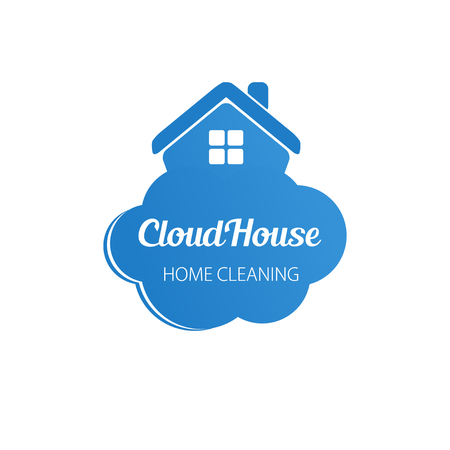 Small blue house on the cloud. Home cleaning or deleivery company business logo. Vector element, icon.