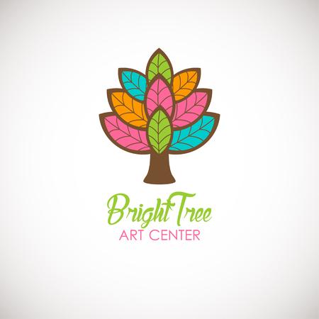 Abstract tree logo design template. Logotype icon. Vector design for beauty or yoga studio, wedding salon or photography studio