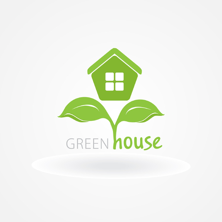 Eco house with green leaves. House logo. Ecological house icon. 矢量图像