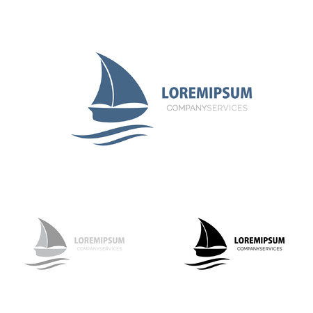 Ship sign. small blue boat. Branding Identity. Corporate vector logo design Illustration