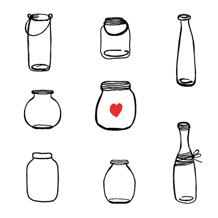 VectorSet of Hand Drawn Mason Jar Vectors. Black jars on white background. Can be uset for cards, invitations, posters and other print design.