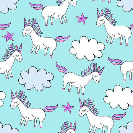 Vector cute unicorn silhoette with stars and clouds. Girly seamless pattern for textile, print, web design.