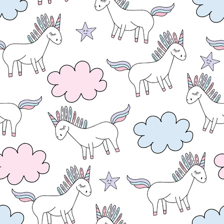 Vector cute unicorn silhoette with stars and clouds. Girly seamless pattern for textile, print, web design. 写真素材 - 127633377