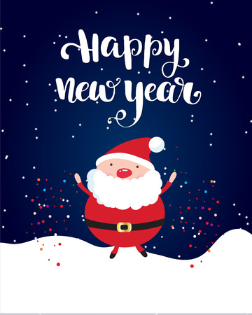 Happy New Year brush lettering text and cute small Santa on white snow and dark sky background Фото со стока - 112200649