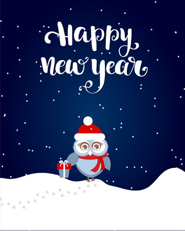 Happy New Year brush lettering text and cute small owl with gift box on white snow and dark sky background  イラスト・ベクター素材