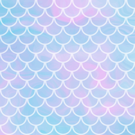 Vector cute background with fish scale and shining sparcles on soft pastel magic color palette gradient. Illustration