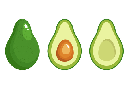 Avocado fruit icon inside and outside . Vector illustration, Green food symbol isolated on white background