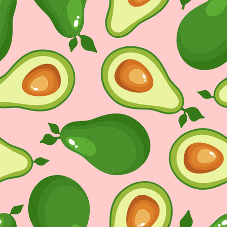 Avocado seamless pattern for textiles, prints, clothing, scrapbooking, banner and more. Ripe vegetables on pink background. Healthy food print. Can be used for textile, kitchen, scrapbooking.