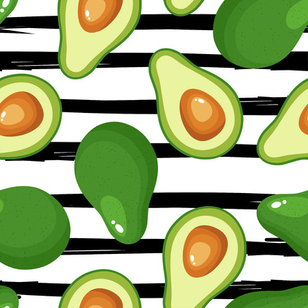 Avocado seamless pattern for textiles, prints, clothing, scrapbooking, banner and more. Ripe vegetables on striped background. Healthy food print. Can be used for textile, kitchen, scrapbooking.  イラスト・ベクター素材