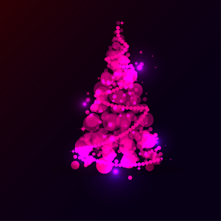 Shining Pink Christmas Tree on Blue Background with Light Effects. Vector illustration for New year holiday card, poster, banner