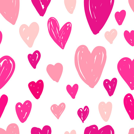 Abstract seamless pattern of bright pink hearts on white background. Image for wallpaper, textile, scrapbooking, poster or cover. Vector illustration. 写真素材 - 127046551